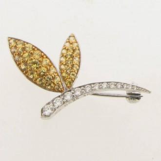 BO0009 Diamond & Yellow Sapphire Dragonfly Brooch