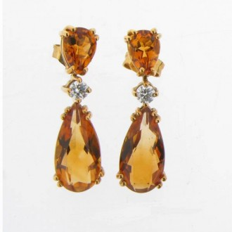 ED0234 Citrine & Diamond Drop Earrings