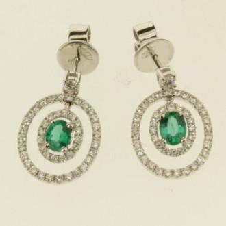 ED0496 18ct Diamond & Emerald Drop Earrings