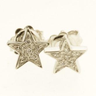 ED0512 18ct Small Diamond Star Earrings
