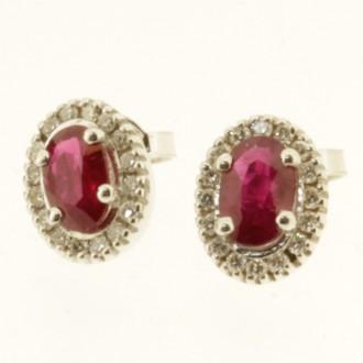 ED0515 18ct Ruby & Diamond Cluster Earrings