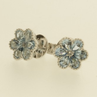 EO0294 18ct Aquamarine & Diamond Flower Earrings