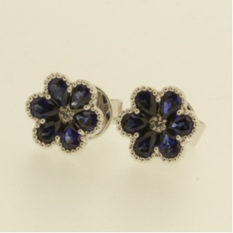 EO0295 18ct Sapphire & Diamond Flower Earrings