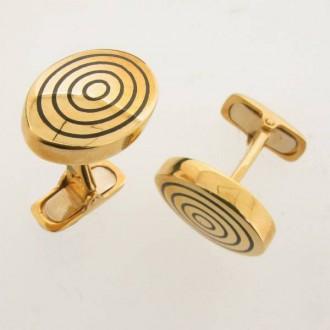 LN0026 Gold & Onyx Cufflinks