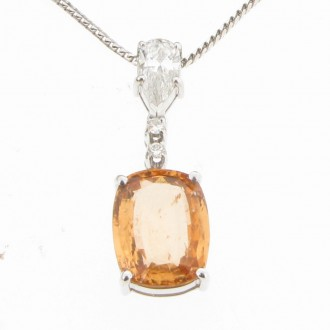MS1377 18ct Hessonite Garnet & Diamond