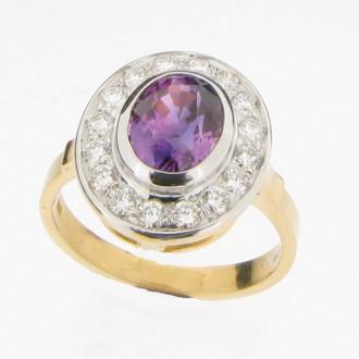 MS4238 Sapphire & Diamond Cluster Ring