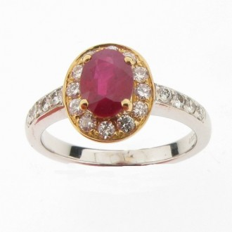 MS4239 Ruby & Diamond Cluster Ring