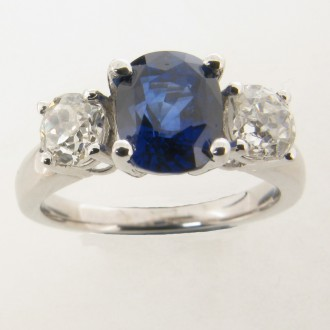 MS5310 Sapphire & Diamond Three Stone Ring