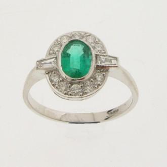 MS5331 Emerald & Diamond Cluster Ring