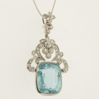 MS5968 Aquamarine & Diamond Pendant
