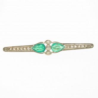 MS5975 Diamond & Emerald Bar Brooch