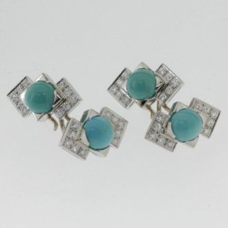 MS6310 14ct Turquoise & Diamond Cufflinks
