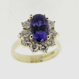 MS6514 Tanzanite & Diamond Ring