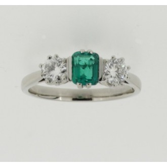 MS6519 Emerald & Diamond Three stone ring
