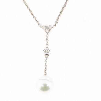 NK0097 Diamond Heart & Pearl Necklet