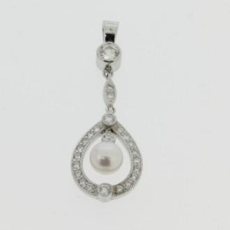 PD0493 Diamond & Pear Drop Pendant