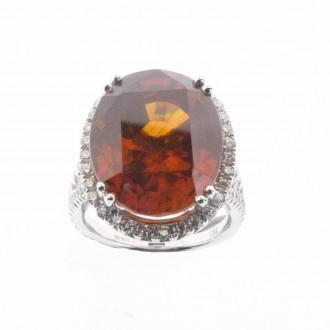 RM0086 18ct Natural Zircon & Diamond Ring