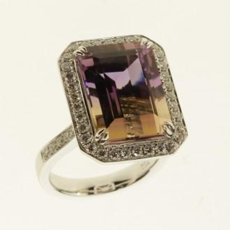RO0064 Amertrine & Diamond Ring