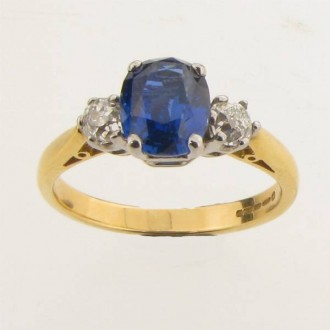 RS0051 Sapphire and Diamond Three Stone Ring