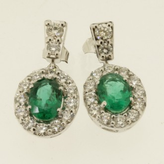 ED0497 18ct Emerald & Diamond Cluster Earrings