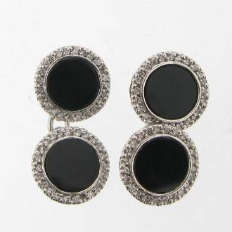 LN0036 Diamond & Onyx Cufflinks
