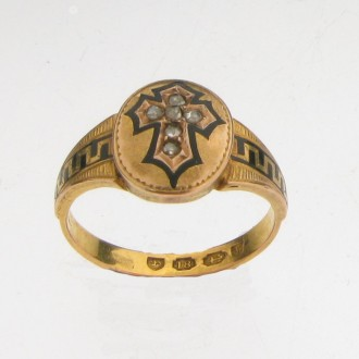 MS0282 18ct Victorian Mourning Ring