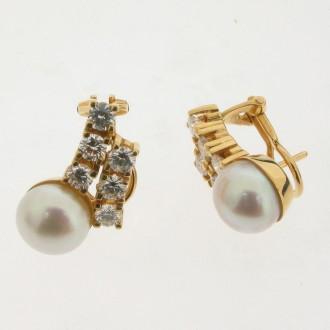 MS0346 Diamond & Pearl Earrings