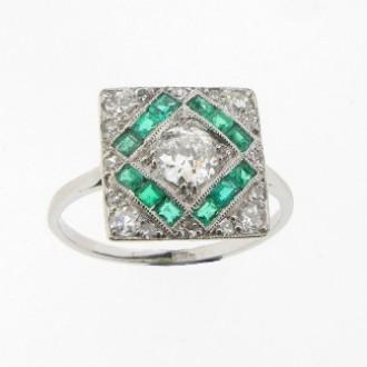 MS0540 Art Deco Emerald & Diamond Ring