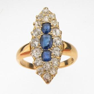 MS0761 Victorian Sapphire & Diamond Cluster Ring