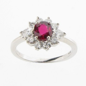 MS2276 Oval Ruby & Diamond Cluster Ring