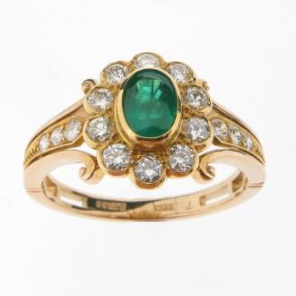 MS2392 Emerald & Diamond Cluster Ring