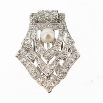 MS4827 1930's Diamond Clip Brooch