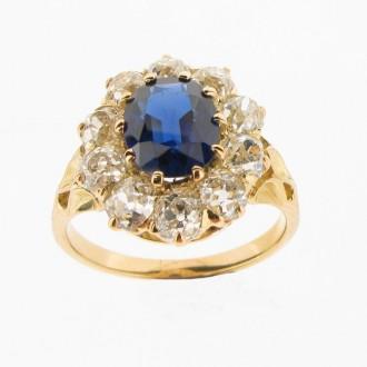 MS5110 Sapphire & Diamond Cluster Ring
