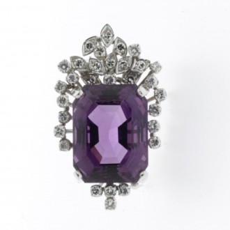 MS6174 Amethyst & Diamond Pendant