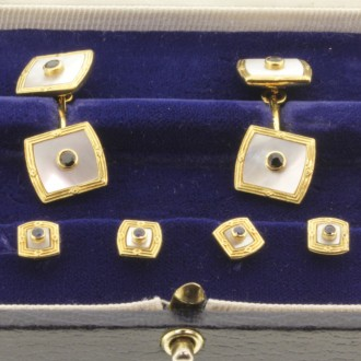 MS6897 Mother of Pearl & Sapphire Cufflinks