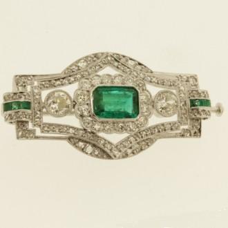 MS7112 Emerald & Diamond Brooch