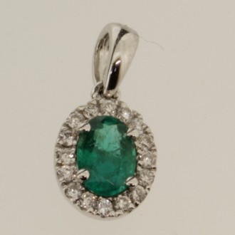 PD0518 Emerald & Diamond Pendant
