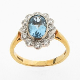 RM0024  Aquamarine & Diamond Cluster Ring