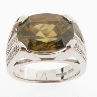 RM0062  Green Zircon & Diamond Ring
