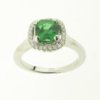 RM0091 18ct Tsarvorite & Diamond Cluster Ring