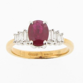 RR0005 Oval Ruby & Diamond Ring