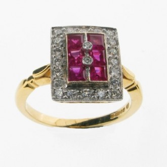 RR0012 Ruby & Diamond Cluster Ring