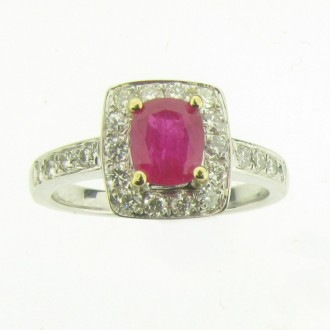 RR0022 Ruby & Diamond Cluster Ring